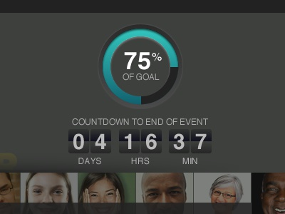 Countdown counter countdown timer temperature percent percentage goal target gradient subtle people faces teal yummy