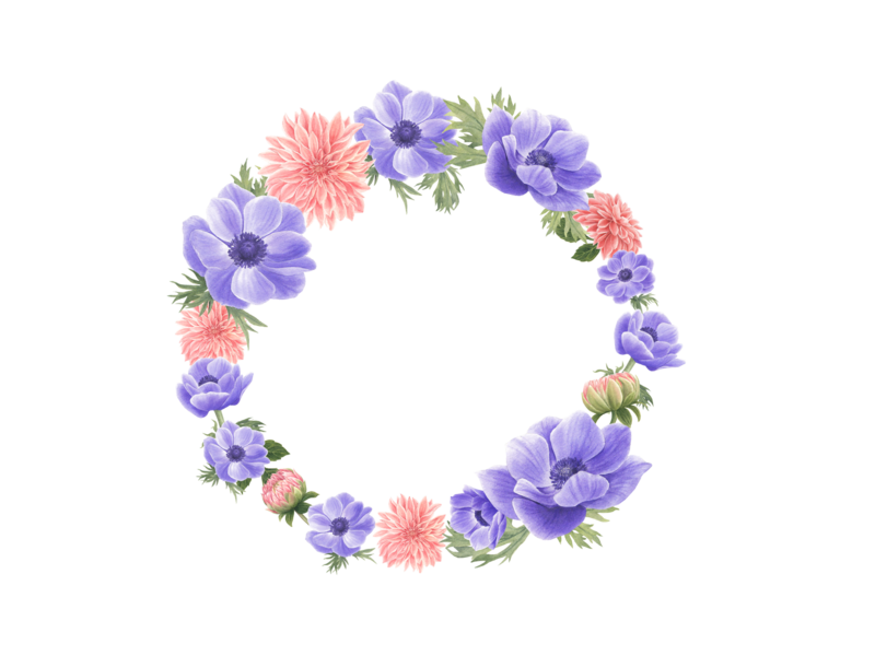 Wreath with anemone and dahlia flower