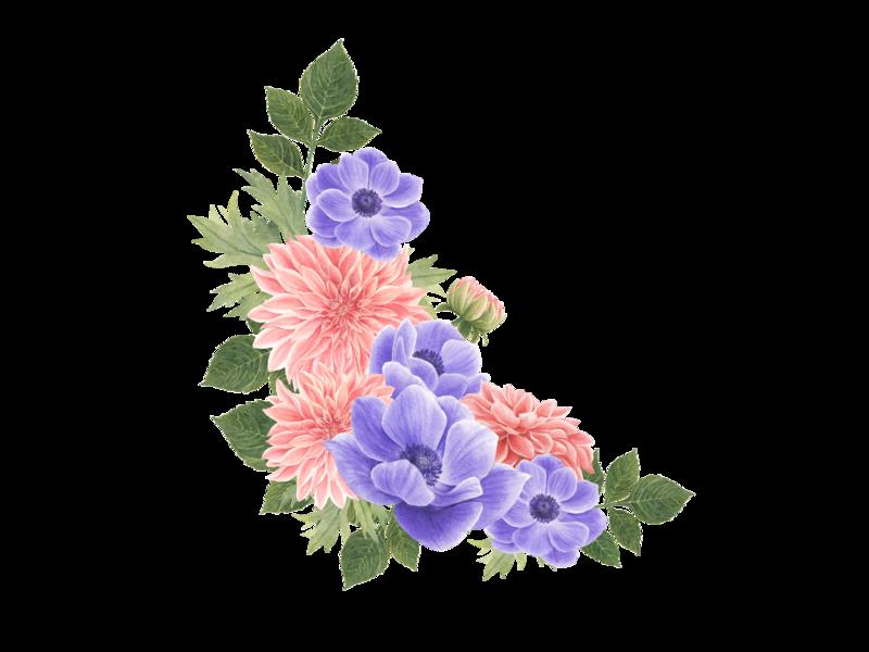 Bouquet anemone and dahlia