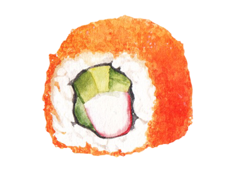 Sushi Japanese food watercolor