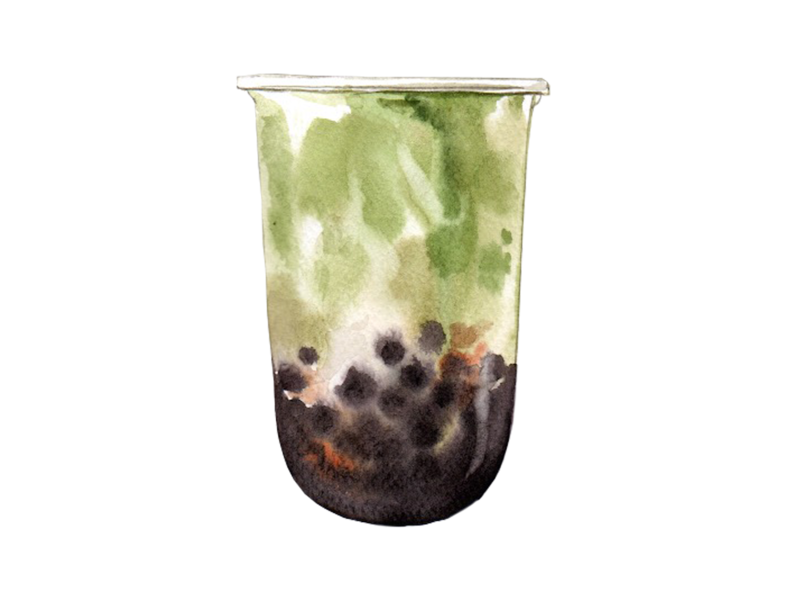 Bubble green Tea watercolor