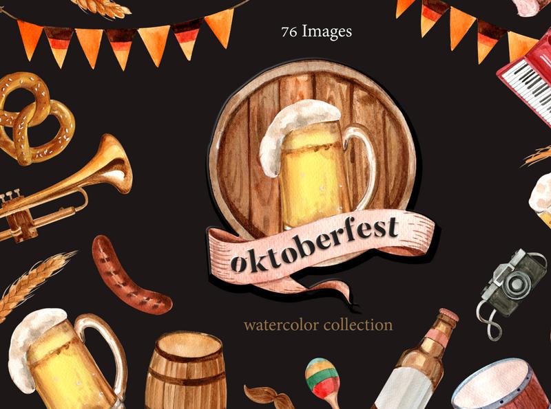 Oktoberfest Watercolor Set dress party traditional festival hat costume posterm mug vintage bbq german beer oktoberfest