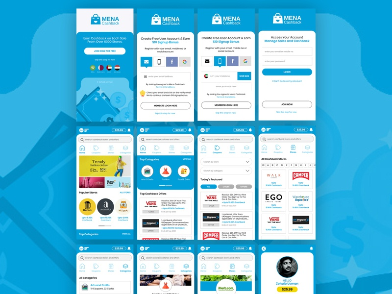 Cashback & Coupons Mobile App mobile app design mobile mobile app ui  ux