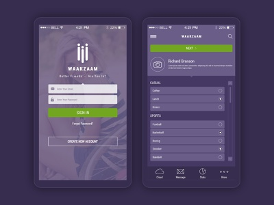 WaakZaam - Mobile App social app ui mobile app mobile app design app design