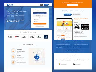 Cashback Site Landing Page landing page cashback web design ui design