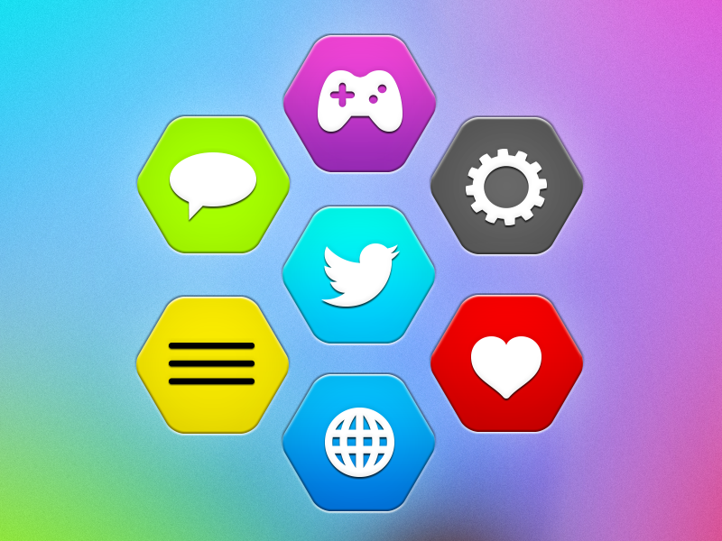 Hex buttons hexagon icon button simple bright ui