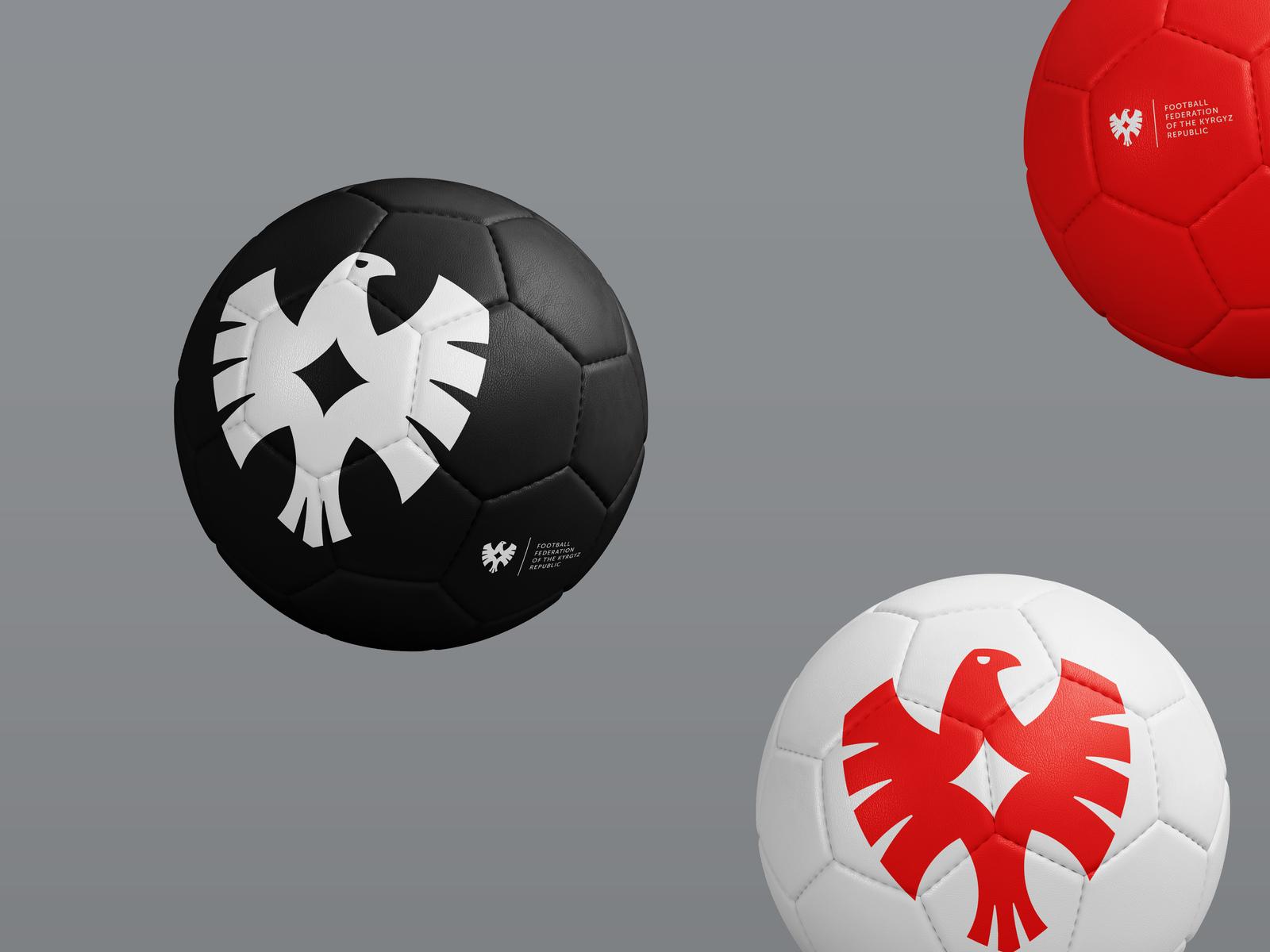 FFKR balls ffkr kyrgyzstan wings bird eagle logotype logo national team branding rebranding sport football soccer ball