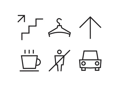 SOK wayfinding icons 3 only staff wardrobe parking car cup coffee stairs arrow coworking waifinding sign pictogram symbol icons