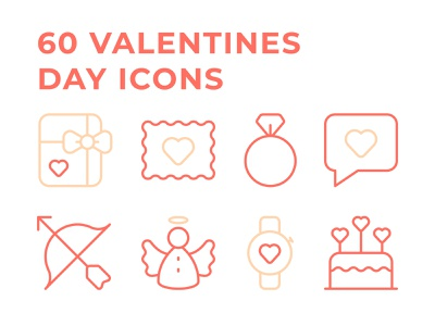 60 Valentines Day Icons wedding cupid coral family romance romantic line icons outlines pictogram love valentines day icons set icons