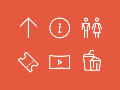 Raduga Icons popcorn cafe toilet wc way arrow ticket cinema wayfinding icons icon design pictogram minimal sign symbol