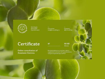 Broccoliblog Certificate Design identity branding design uiux web ux ui hypnotherapist naturopath nutriologist broccoli health green print design card gift card present gift certificate