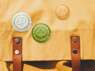 Pins/Badges for Broccoliblog hypnotherapist naturopath nutriologist healthy food health food yellow green backpack badge pin badge pin vector design sign logotype identity branding symbol logo