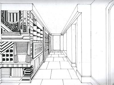 Den Of James concept inked sketch 2d animation set design