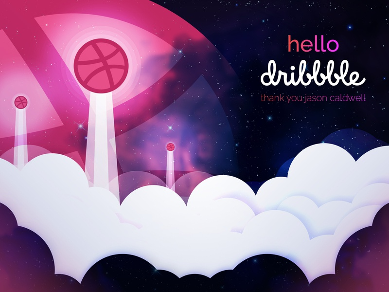 Hello Dribbble the final frontier hello illustration debut