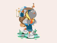 Carrier Pigeon 🐦 slingshot outdoors camping bag water bottle fishing rod vector illustration pigeon