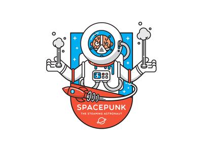 Spacepunk sticker villain bad guy planet space rocket stars badge boiling steam astronaut logo punk