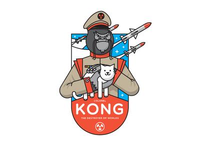 Colonel Kong sticker colonel badge nuclear cat gorilla bad guy villain missile logo mark