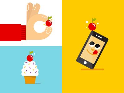 Cherry Points Re-Brand (Vodafone) character cupcake flat hand vodafone cherry phone