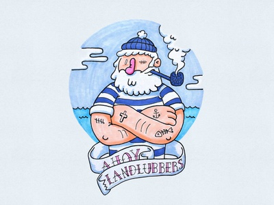 Ahoy! drawing doodle illustration sailor copics sea clouds ahoy hat pipe