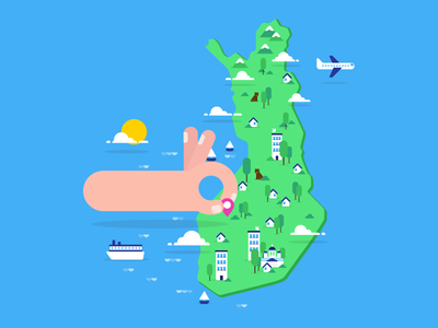 Finland clouds bear map vector flat finland water plane sea forrest house