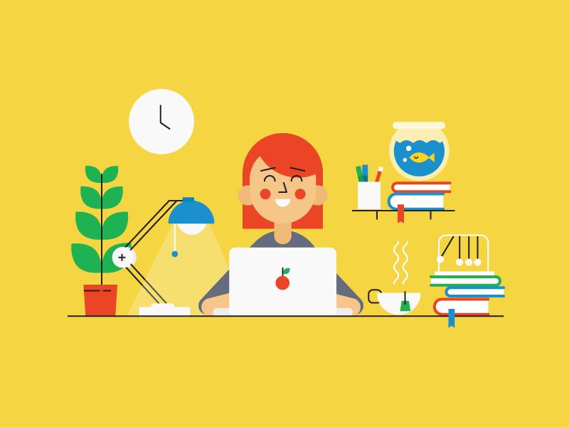 online booking laptop character design tee desk lamp illustrator 2d illustration fish books plant office