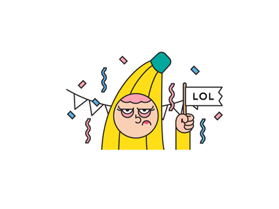 Bananas for motto app character design grumpy 2d character flag illustrator illustration confetti party lol sticker banana