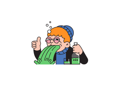 Good Times for motto app character design 2d character illustrator tipsy puking drunk absinthe thumbs up sticker illustration
