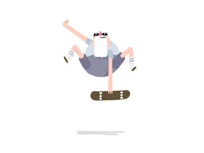 Grampa 2d character skateboard mute grab skater grampa character design photoshop illustration