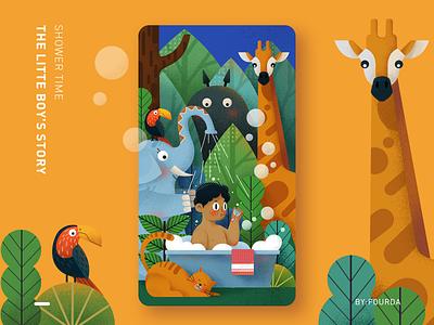 shower time branding website ui illustration design