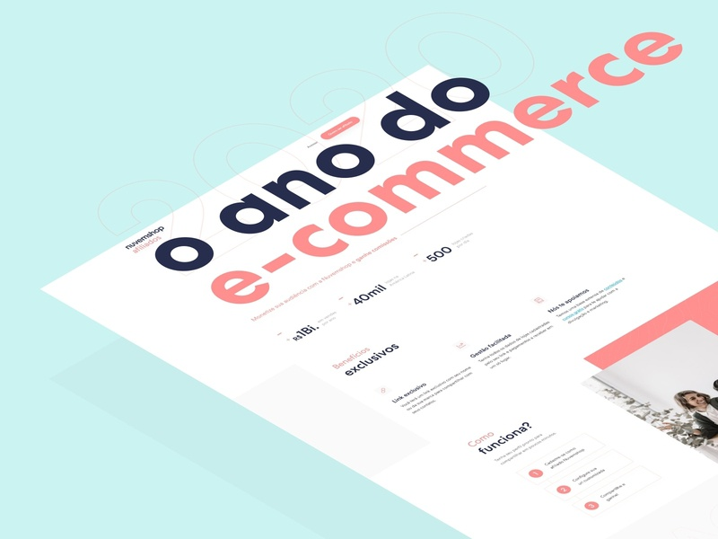 Landing page Nuvemshop Afiliados - proposal clean red webdesign pastel color web ux startup flat ui layout landing page