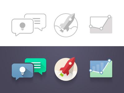Process Icons design talk graph analytics idea rocket clean ui shadow flat icon