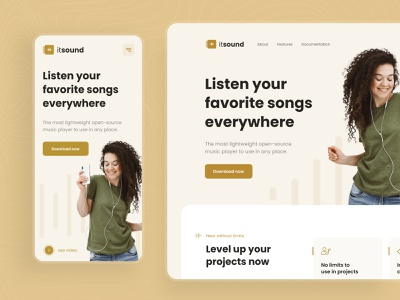 Music Player - Mobile and desktop page ui webdesign landing page layout minimal uidesign userinterface appdesign dailyui userexperience responsive mobile open source ux ui design figma