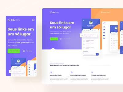 Bio.links - Landing page & Mobile figma design ux ui open source mobile responsive userexperience dailyui appdesign userinterface uidesign minimal layout landing page webdesign ui