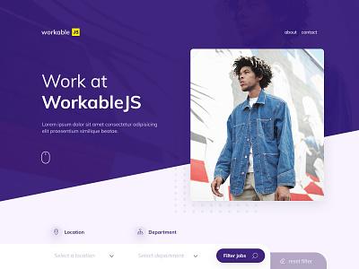 Workable JS layout web design web filter home forms ui ux design landing page