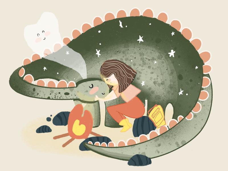Dino by the campfire campfire dinosaur designer illustration art daily illustration calm