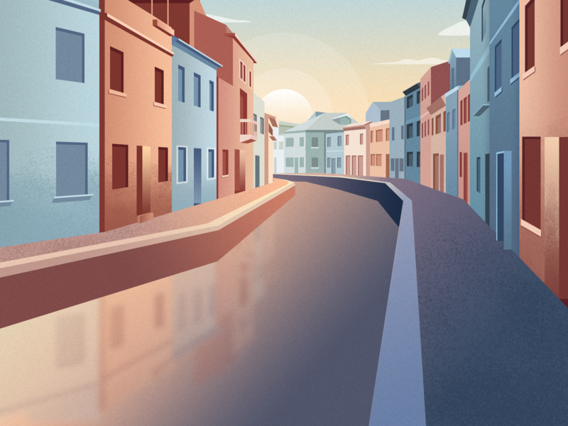 Venice at dusk house dusk scenery yellow blue water town illustration practice design