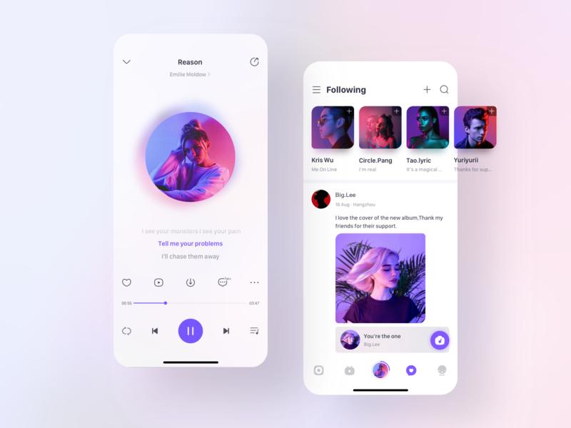 Original music social App music player player minimal ux ui design mobile design purple mobile app icon ios interface mobile social music clean ui clean app ui practice design