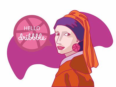 Girl With The Dribbble Earring graphic art vector artist earring pearl girl illustration dribbble hello hellodribbble