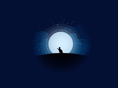 hi moonlight moon cat illustration cat drawing cat flat animation vector illustration design