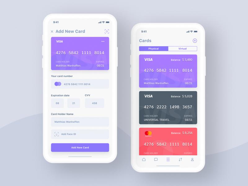 credit card app white uivladimir gubanov on dribbble