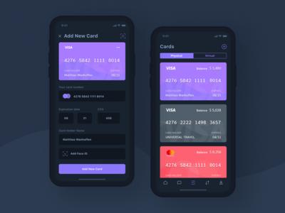 Credit Card App Dark UI