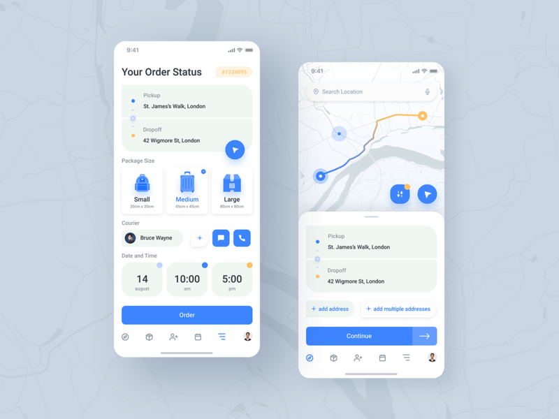 Delivery app (first) order parcel cards map ui clean ui courier delivery clean white