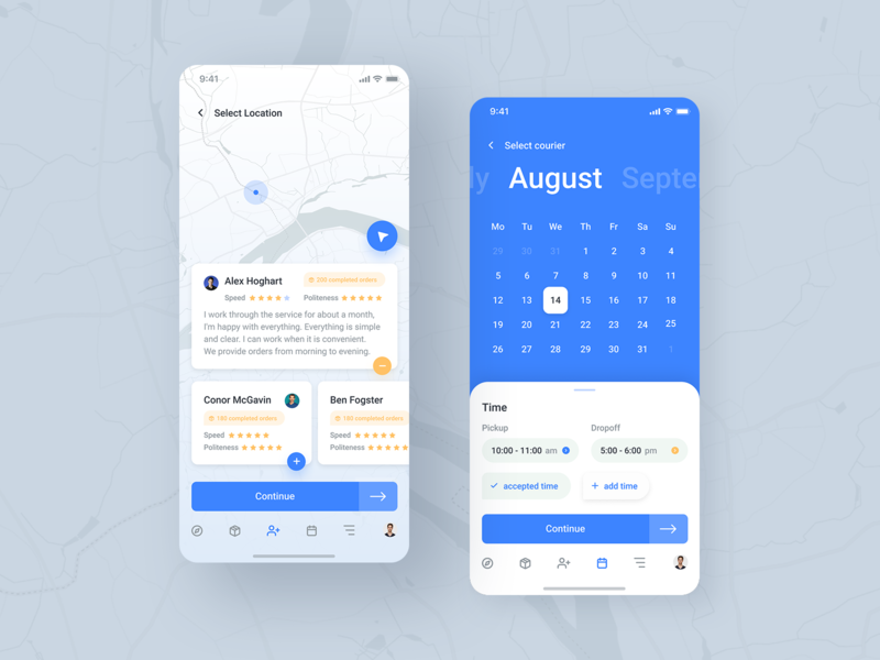Delivery app (second) date uiux ui gps white parcel order courier delivery map time calendar cards