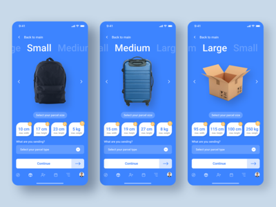 Delivery app (Parcel Size UI)