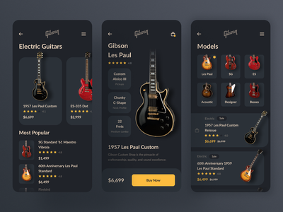 Mobile App for Gibson Guitars / Concept card guitar pick gibson les paul ios instruments shop music dashboad dark audio app design ux ui typoraphy mobile app minimal flat clean black lead