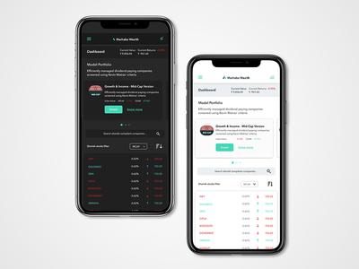 Stock market app dasboard