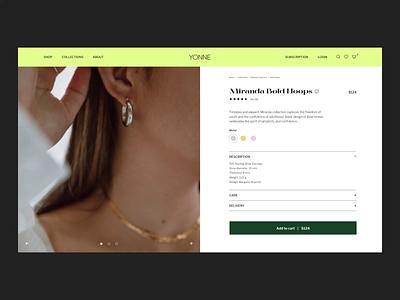 YONNE Product Page shopify catalog shop store interface ui design ux design minimalist website ecommerce checkout product card branding ui ux jewelry jewelry website ecommerce website