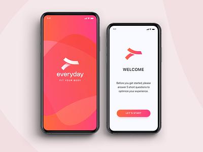 Fitness identity and UI / UX design app uidesign app identity branding logo everyday fitness app
