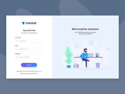 Blockchain platform sign up page