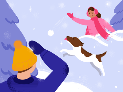 Snowball fight ☃️ texture design winter snowball snow procreate character characterdesign illustration